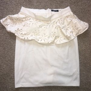 White Peplum Skirt with Floral Design